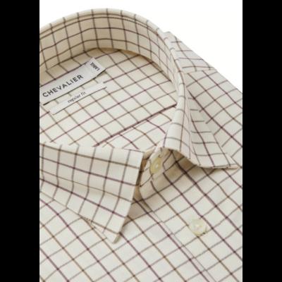 Chevalier Billet ing férfiaknak krémfehér színben, mogyoróbarna tattersall mintával